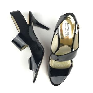 Michael Kors Black Patent Leather Sandals 9